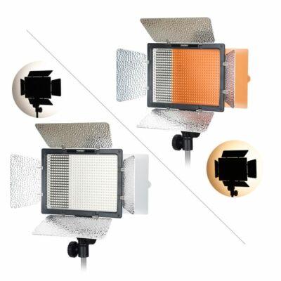 Yongnuo YN 600 L II LED lámpa és a két szűrőjének a fénye