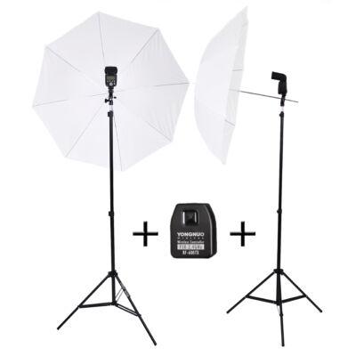 Dupla Strobist Kit: Yongnuo 560 III vaku Nikon jeladóval, ernyővel, tartóval és 190 cm-es álvánnyal