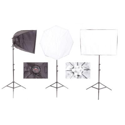 Vlog Pro LF525 Három lámpás, Led izzós szoftbox lámpa szett  3x175W LED / 5400 K